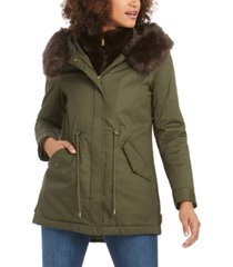 french connection anorak coat with faux-fur trim hood