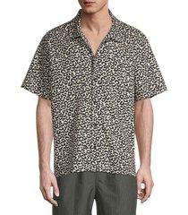 solid and striped men's cabana regular-fit leopard-print shirt - leopard - size s