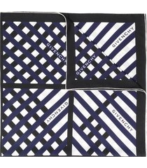givenchy criss-cross striped print scarf - blue