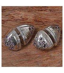 amethyst stud earrings, 'amethyst cones' (indonesia)