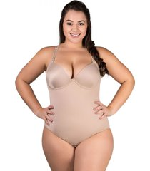 body modelador estilo sedutor com bojo bege - pl203-294 - bege - feminino - dafiti