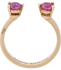 delfina delettrez 2 dots pink sapphires midi fingertip ring - metallic