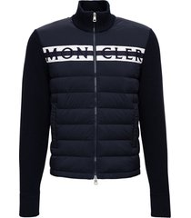 moncler blue tricot cardigan with logo