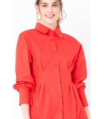blusón color sólido detalle prenses
