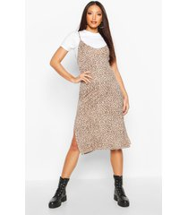 leopard print jersey slip midi dress, brown