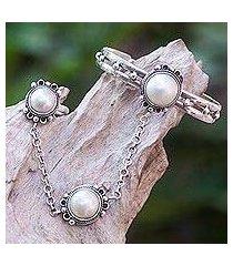cultured pearl flower harem bracelet with ring, 'mekar dancer' (indonesia)