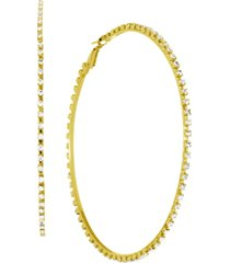 """essentials cubic zirconia large skinny hoop earrings, 3.54"""" in fine silver and gold plate"""