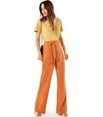 calca seda pijama com cinto marrom canela
