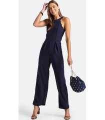 rell scallop racerback jumpsuit - navy