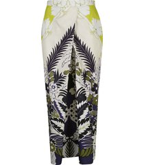 valentino front cut-out printed skirt