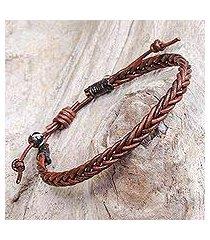 leather braided bracelet, 'cinnamon braid' (thailand)