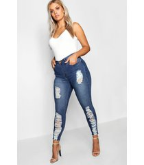 plusmaat gescheurd gemêleerde stretch skinny jeans, indigo