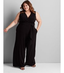 lane bryant women's crossover jumpsuit 26/28p black