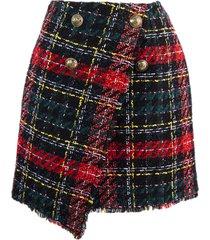 balmain scottish tweed asymmetrical skirt