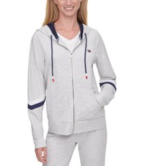 tommy hilfiger sport striped-sleeve zippered hoodie