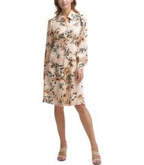 calvin klein floral-print jacquard collared a-line dress