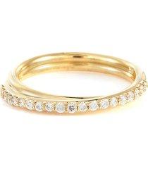 demi diamond pave 14k gold ring