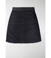 ganni a-line denim skirt