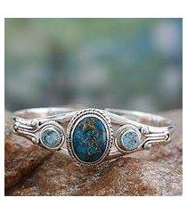 blue topaz cuff bracelet, 'azure heavens' (india)