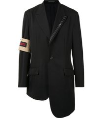 yohji yamamoto selvedge panel detail wool blazer - black