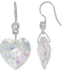 2028 women's silverstone austrian crystal glass heart wire earrings