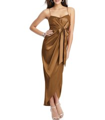women's after six bow front stretch satin gown, size 8 - brown