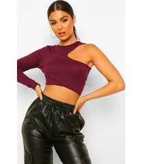 cut out long sleeved crop top, berry