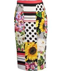 patchwork charmeuse midi skirt