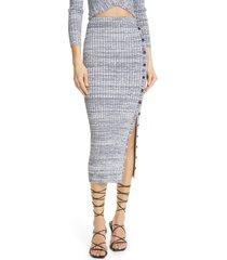 women's self-portrait horizontal rib pencil skirt, size large - ivory