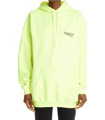 balenciaga campaign logo oversize cotton hoodie, size large in fluo yellow/black at nordstrom