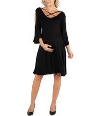 24seven comfort apparel maternity knee length cold shoulder dress