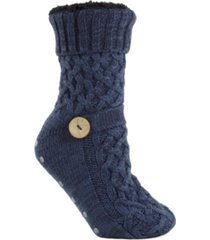 minxny women's argon infused fuzzy non-skid slipper knitted socks, 2 pieces