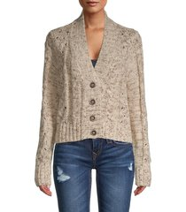 rd style women's textured button-front cardigan - oatmeal - size l