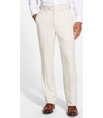 men's berle self sizer waist flat front classic fit microfiber trousers, size 35 x unh - beige
