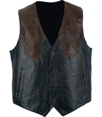 giovanni navarre pebble grain genuine leather western-style vest med-4xl