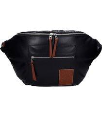 loewe waist bag in black leather and fabric