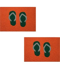 2 capachos divertido p/ porta 60x1,2m chinelo87 - laranja - feminino - dafiti