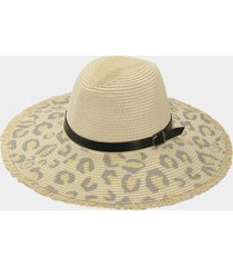sombrero de paja de ala ancha con decoración de banda con estampado de leopardo
