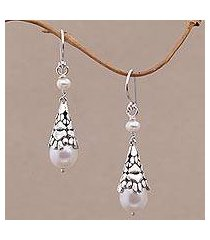cultured pearl dangle earrings, 'paw cones' (indonesia)