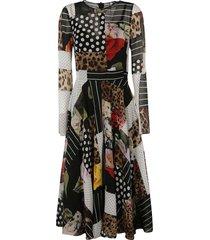 dolce & gabbana lace paneled flared dress