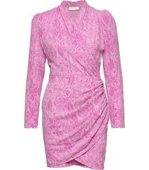 clem, 745 structure stretch jurk knielengte roze stine goya