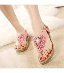 sandalias zapatos bohemia cristal dedo pie clip casual -rosa