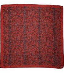 saint laurent zebra print cashmere & silk scarf in rouge/noir at nordstrom