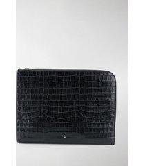 alexander mcqueen croc effect logo zip pouch