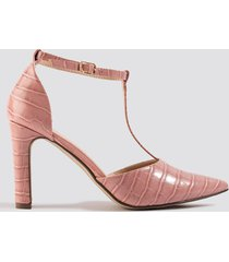 na-kd shoes croco t bar pumps - pink