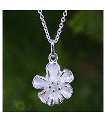sterling silver pendant necklace, 'petite bloom' (thailand)