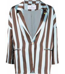 manuel ritz striped drop-shoulder blazer - blue
