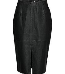 stretch leather - nyx knälång kjol svart sand