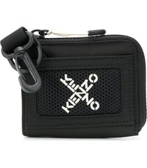 kenzo cross-over logo wallet with clip - black