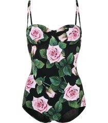 dolce & gabbana tropical rose print swimsuit - black